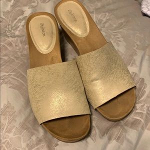 Style & co gold slip on wedges